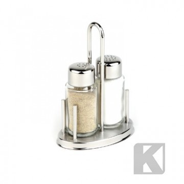 Oppsats Klassik salt og pepper, rfr stål/ glass 10,5 cm